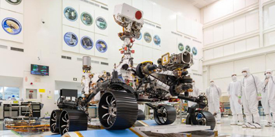 In a clean room at NASA's Jet Propulsion Laboratory in Pasadena, California, engineers observed the first driving test for NASA's Mars 2020 rover. It is scheduled to launch as early as July 2020.